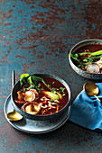 Easiest home-made Asian broth with radish, pak choy and miso