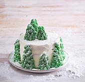 Christmas cake with trees
