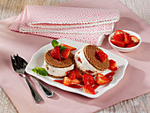Yoghurt and elderflower ice cream sandwiches with strawberries
