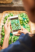 woman taking a photo with the mobile to some vegetables in the supermarket
