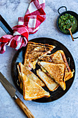 Toasted cheese sandwiches with fresh herb chutney