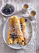 Omeletts with blueberries and cottage cheese