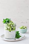 Chia yoghurt with kiwi and mint