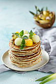 Pancakes with melon balls