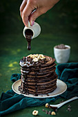 Chocolate pancakes with hazelnuts