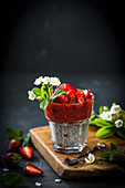 Chia pudding with strawberry compote