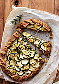 Zucchini galette on wooden table