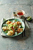 Wonton with shrimp filling, topped with Chinese cabbage salad