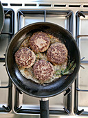 Venison meatballs in a pan