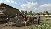 Iron age settlement, illustration