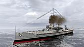 Dreadnought battleship, 1906, illustration
