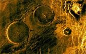 Volcanic pancake domes, Venus, radar image