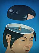 Woman sitting in despair inside head, illustration