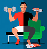 Man exercising at home and at the gym, illustration