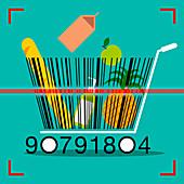 Barcode shopping trolley, illustration