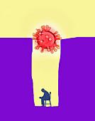 Man trapped alone by coronavirus, illustration
