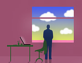 Businessman looking out of office window, illustration