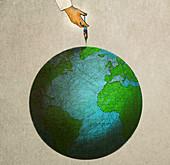 Hand injecting globe, illustration