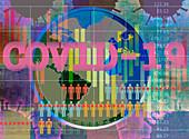 Global statistics for coronavirus pandemic, illustration