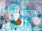 Scientist testing for coronavirus, illustration