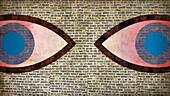 Large eyes in brick wall, illustration