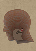 Girl trapped at the bottom of head shaped hole, illustration