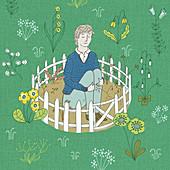 Man isolated in barren garden, illustration