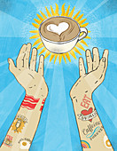 Tattooed arms reaching out for cup of coffee, illustration
