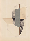 Surreal cut paper shapes and male face, illustration