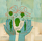 Hands holding gift box containing legal system, illustration