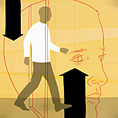 Man walking through door into head, illustration