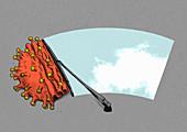 Windscreen wiper removing coronavirus, illustration