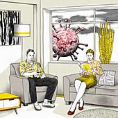 Couple in lockdown, illustration