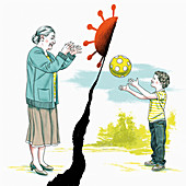 Coronavirus transmission, illustration