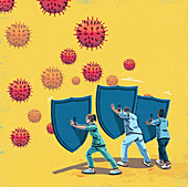 Healthcare workers with shields, illustration