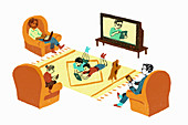 Family on own digital devices, illustration