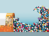 People swept away in tidal wave of pills, illustration