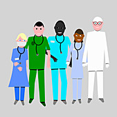 Group of healthcare key workers, illustration