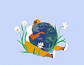 Woman hugging planet Earth, illustration