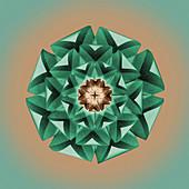 Origami flower head, illustration