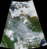 Siberian wildfires, June 2020, satellite image