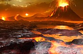 Volcanoes and water on Venus