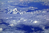 Mont Blanc massif, France, aerial photograph