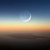 Crescent moon over Menorca, aerial photograph