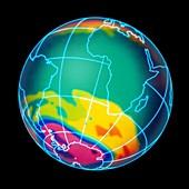 Ozone hole over Antarctica, illustration
