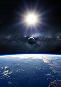 Earth, Sun and Moon, illustration