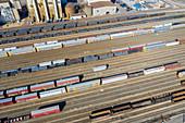 Rail yard, Michigan, USA