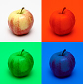 Apple in colored light