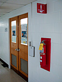 Laboratory Entrance with Card Reader and Fire Extinguisher