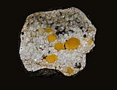 Fluorite on Quartz Geode
